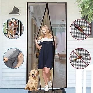 YUFER Magnetic Screen Door 36×80 Reinforced Fiberglass Mesh Curtain Front Door Screen with Full Frame Hook&Loop - Fits Door Size up to 36x80 Inch Max,Grey