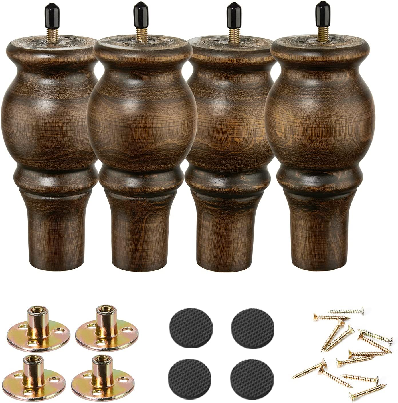 Wood Furniture Legs 6 inch Sofa Legs Set of 4 Round Brown Couch feet Sofa Replacement Parts for Cabinet Dresser Bed Sideboard Coffee Table