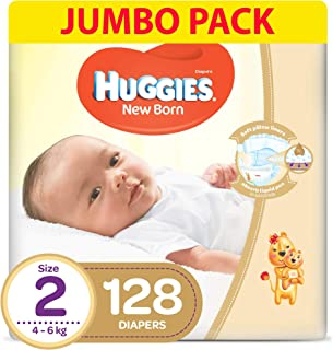 HUGGIES New Born Diapers, Size 2, Value Pack, 4-6 kg, 128 Diapers