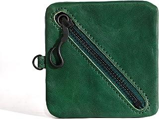 Shechane Square Leather Coin Pouch Change for Men Women Small Purse Change Purse Zipper Coin Purse - Green