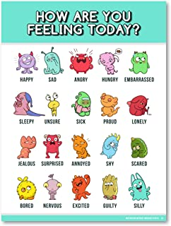 Feelings Chart for Kids (Emotions Poster 18X24 Laminated) Emotions Chart is ideal for Classroom Posters or Classroom Decorations (1 Poster Included)