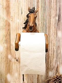 Ebros Western Rustic Wild Chestnut Brown Horse Decorative Toilet Paper Holder Figurine 8.75