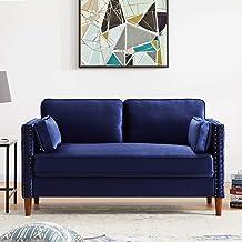 Living Room 2 Seater Sofa, Rockjame Classic Modern Velvet Loveseat with Wood Legs, Sofas for Living Room, Dorm, Bedroom, A...