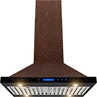 AKDY Island Mount Range Hood – Embossed Copper Hood Fan for Kitchen – 4-Speed Professional Quiet Motor – Touch Control Panel – Modern Design – Dishwasher-Safe Baffle Filters (30 in.)