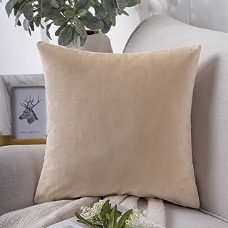 "Phantoscope Decorative Soft Velvet Series Beige Throw Pillow Case Cushion Cover 22"" x 22"" 55 x 55 cm"