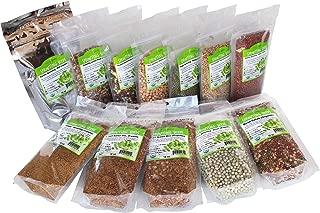 Beginners Dozen Organic Sprouting Seeds - 1 Lb Ea. of Alfalfa, Bean Salad, Lentil Fest, Red Clover, Garbanzo, Green Lentil, Green Pea, Mung Bean, Protein Powerhouse, 3 Salad, 5 Salad, & Radish
