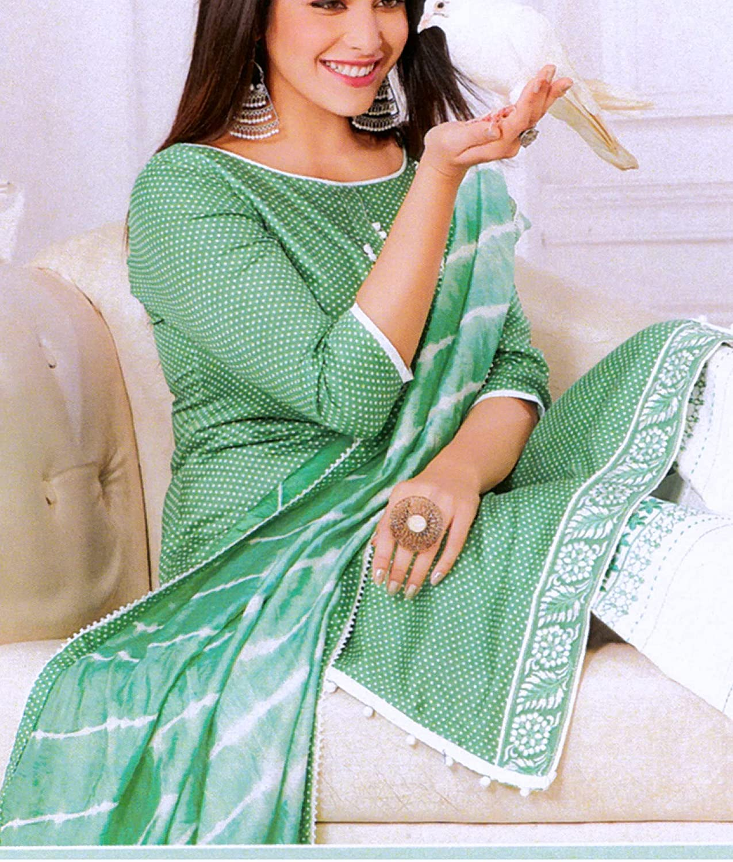 ladyline Cotton Embroidered Palazzo Pants Salwar Kameez Suit for Womens Indian Dress Leheriya Dupatta
