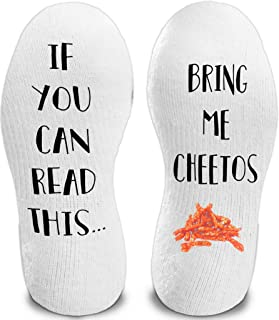 If You Can Read This Bring Me Cheetos Funny Novelty Socks for Men and Women - Comfy Christmas Gift Slipper Socks