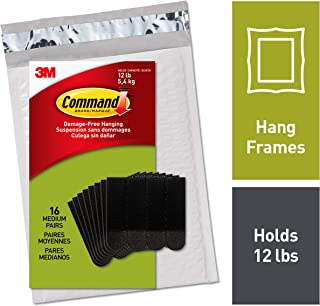 Command Picture Hanging Strips, Medium, 16 pairs (36 strips), Easy to Open Packaging (PH204BLK-16NA)