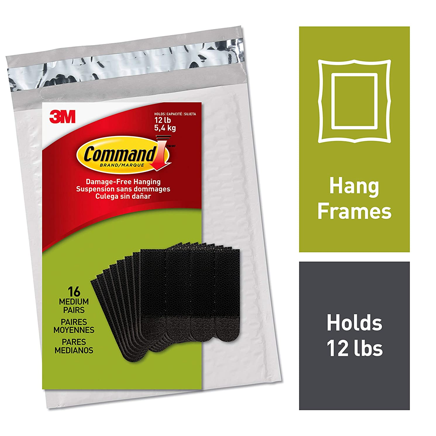 Command Picture Hanging Strips, Medium, Black, 16-Pairs (PH204BLK-16ES) - Easy to Open Packaging