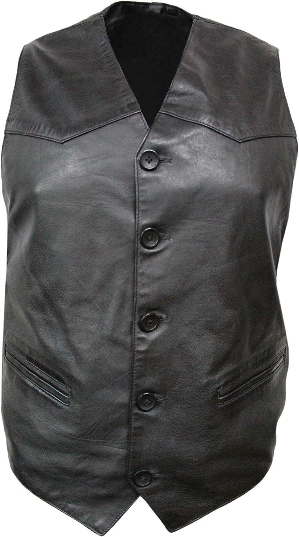 Men's Party Black Fashion Classic Real Lambskin Napa Soft Leather Waistcoat