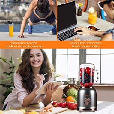 Smoothie Blender with 6 Sharp Blades, Personal Mini Blender for Shakes and Smoothies with 3 Adjustable Speeds, Blender for Ki