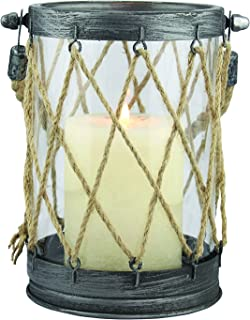 Stonebriar Antique Zinc Metal and Twine Hurricane Candle Lantern, Use As Decoration for Birthday Parties, a Nautical Wedding Centerpiece, or Create a Relaxing Spa Setting, Indoor or Outdoor Use, Small