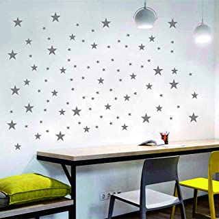 5 Sheets Large Size Stars Wall Decals Wall Stickers Removable Home Decoration Easy to Peel Stick Painted Walls Metallic Vi...