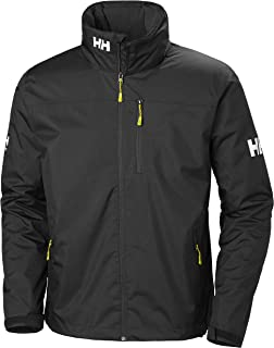 Men's Crew Midlayer Fleece Lined Waterproof Windproof Breathable Sailing Rain Coat Jacket with Stowable Hood