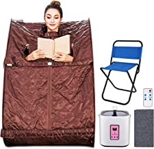 Aceshin Portable Steam Sauna Home Spa, 2L Personal Therapeutic Sauna Weight Loss Slimming Detox with Foldable Chair, Remote Control, Timer (Brown)