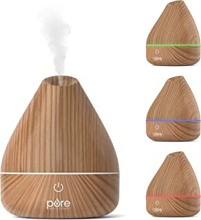 Pure Enrichment PureSpa Natural Aromatherapy Oil Diffuser (Natural) - Ultrasonic Air Deodorizer with 200ml Water Tank, Wood-Grain Accents, Soft Color-Changing Lights, and Auto Safety Shut-Off