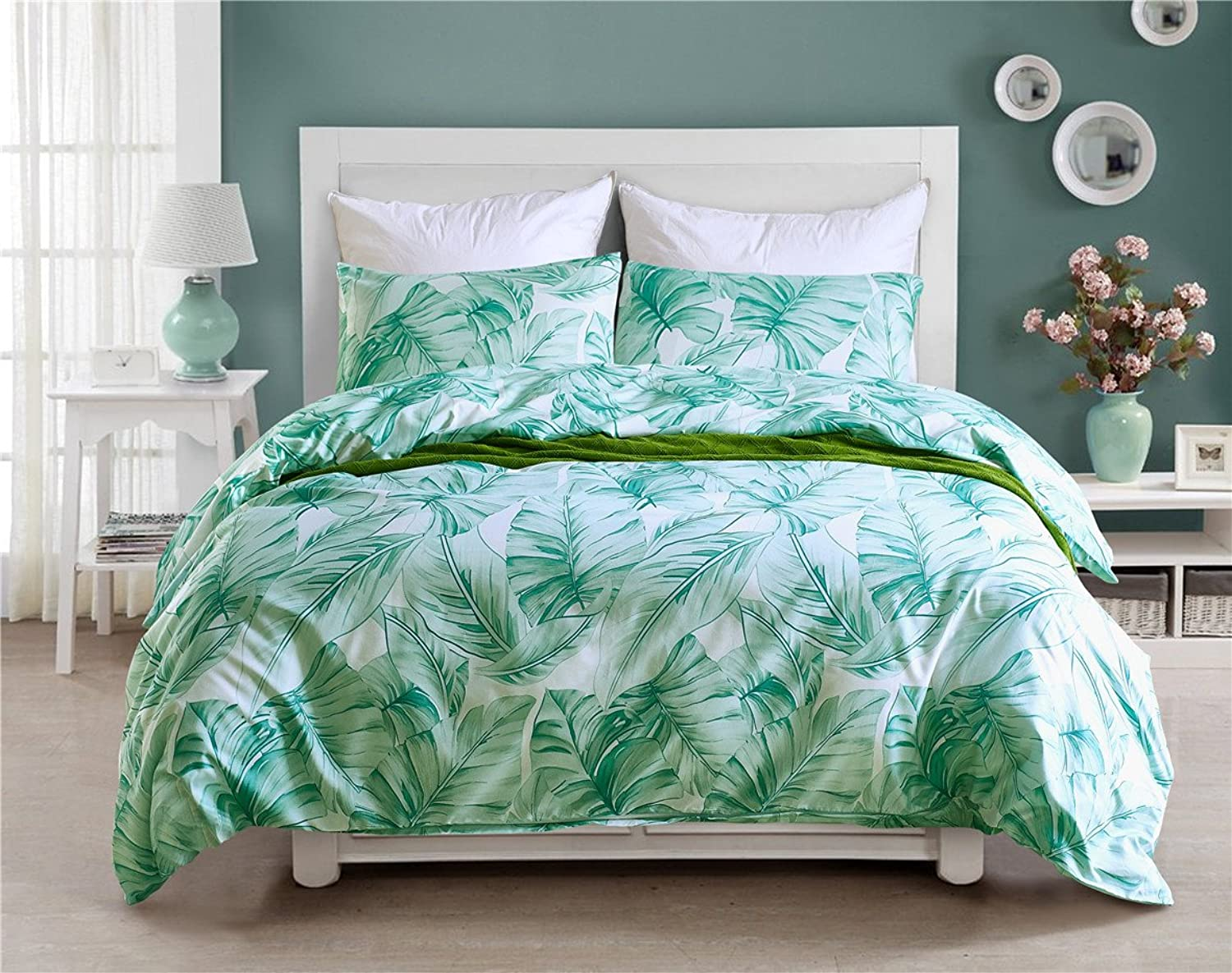 Tenghe Botanical Duvet Cover Set Reversible Tropical Green Palm Leaves Garden Bedding Sets for Girls Bed Cover NO Comforter(Leafy,Twin)