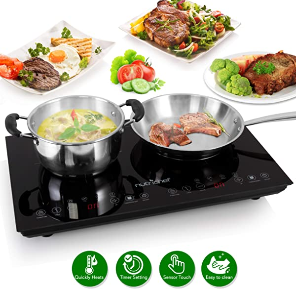 Double Induction Cooktop Portable 120V Portable Digital Ceramic Dual Burner W Kids Safety Lock Works With Flat Cast Iron Pan 1800 Watt Touch Sensor Control 12 Controls NutriChef PKSTIND48