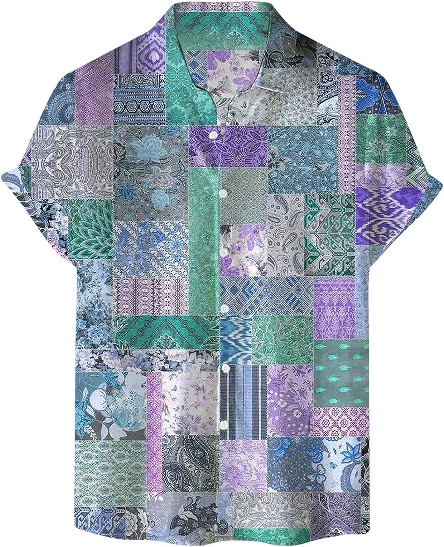 Mens Casual Short Sleeve Shirts Hawaiian Button Down Tees Boho Graphic Printed Vintage T-Shirts Summer Beach Tops