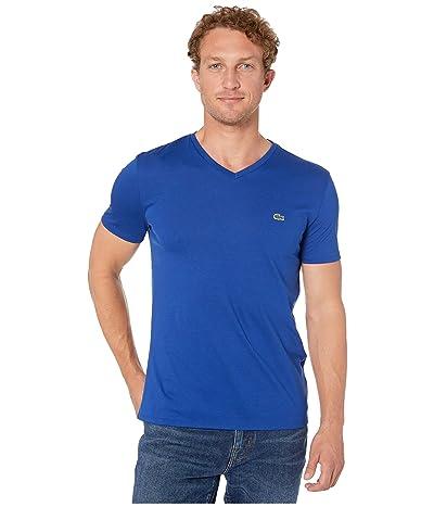 Lacoste Short Sleeve Pima Jersey V-Neck T-Shirt (Captain) Men