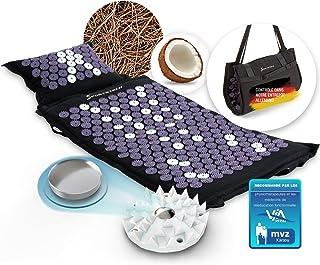 XXL Tapis d'acupression en fibre naturelle avec aimants, sac de transport et de fixation pour chaise, ensemble d'acupressi...