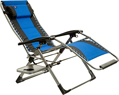 Mac Sports Anti Zero Gravity Adjustable Folding Mesh Patio Lounge Chair with Side Table and Cup