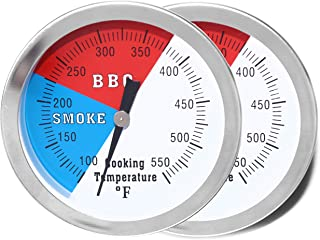"DOZYANT 3"" BBQ Thermometer Temperature Gauge for Charcoal Grill Pit Smoker Temp Gauge Grill Thermometer with Fahrenheit and Heat Indicator,2 Pack"
