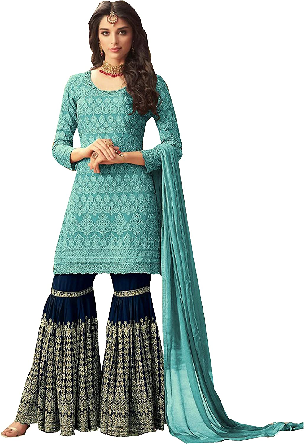 Delisa Indian Pakistani Bollywood Party Wear Long Anarkali Gown for Womens Ghoomar