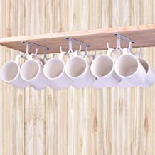 LEVOSHUA Mug Holder, 12 Cabinet Hook Mug Rack, Coffee Cup Holder, Rustic Mug Tree for Small or Large Coffee Mug, Wine Beer Mug, Teapot - White