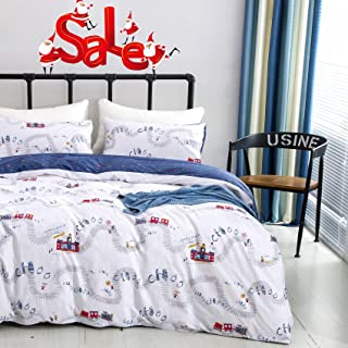 Wellboo Boys Bedding Sets Train Station Cartoon Duvet Covers Queen Full Kids Children Bedding Sets Cotton Transportation White and Blue Comforter Covers Reversible Travel Durable Healthy No Comforter