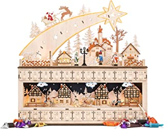 Best Choice Products Wooden Christmas Shooting Star Advent Calendar w/Battery-Operated LED Light Background