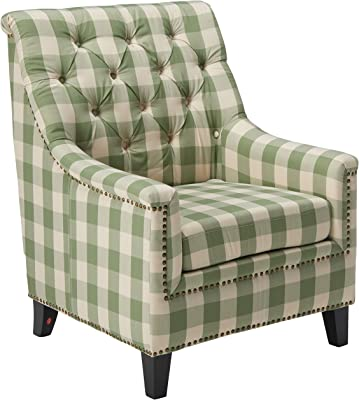Christopher Knight Home Paul Fabric Tufted Club Chair, Green Checkerboard, Dark Brown
