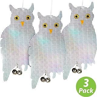 Livin' Well Bird Repellent Reflective Owl Decoy - Bird Deterrent, Woodpecker Deterrent, Owl Scarecrow and Fake Owl Bird Repellent Devices to Scare Birds Away (3 Pk)