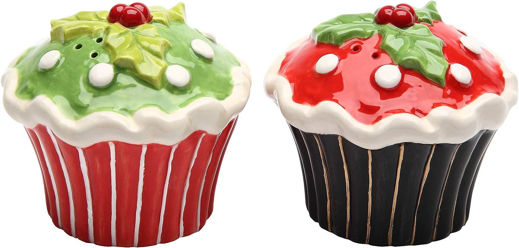 Cosmos 61829 Gifts Ceramic Seasonal Cupcake Salt And Pepper Set 2 5 8 Inch