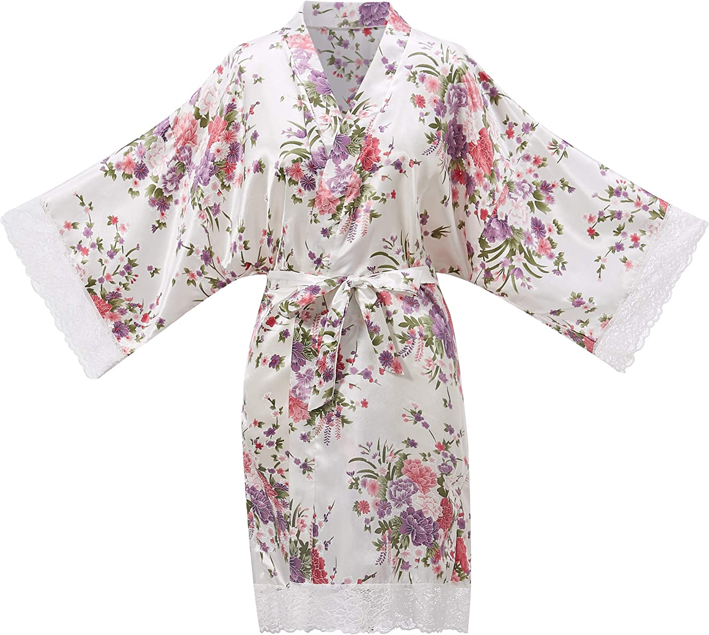 Indefinitely ALHAVONE Women Short Floral Silky Lace Cash special price Bride Robes Wedding