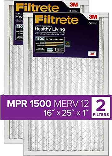Filtrete 16x25x1, AC Furnace Air Filter, MPR 1500, Healthy Living Ultra Allergen, 2-Pack (exact dimensions 15.69 x 24...