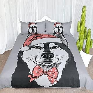 ARIGHTEX Siberian Husky Christmas Duvet Cover Adorable Christmas Cartoon Bedding Set Funny Puppy Dog Santa Hat Bed Cover (King)