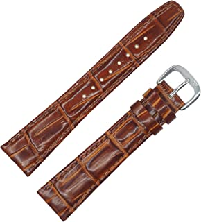 Mahogany Brown Croc Grain Genuine Leather Padded Watch Band by DAKOTA