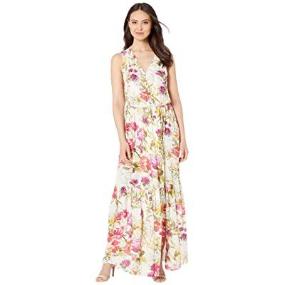 eci Sleeveless Soft Floral Print Cinkle Gauze Maxi with Button Details (Ivory/Pink) Women