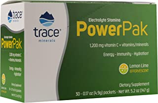 Trace Minerals Electrolyte Stamina Power Pak 1200 Mg Vitamin C Non-GMO, 30 Count