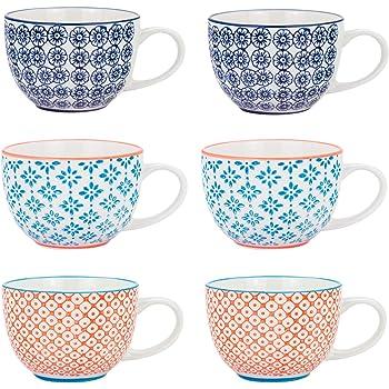 Nicola Spring Taza de Desayuno Estampada - Estilo Vintage - 3 diseños - 250 ml - Pack de 6: Amazon.es: Hogar