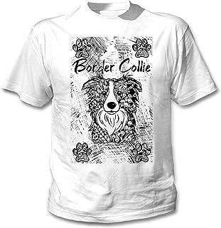 teesquare1st Border Collie Camiseta Blanca para Hombre de Algodon
