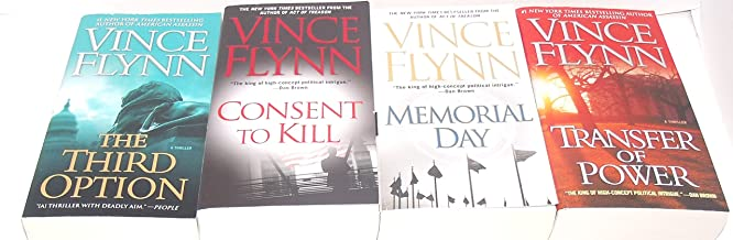 Author Vince Flynn Four Book Bundle Collection Set, Includes: Transfer of Power - Memorial Day - The Third Option - Consen...