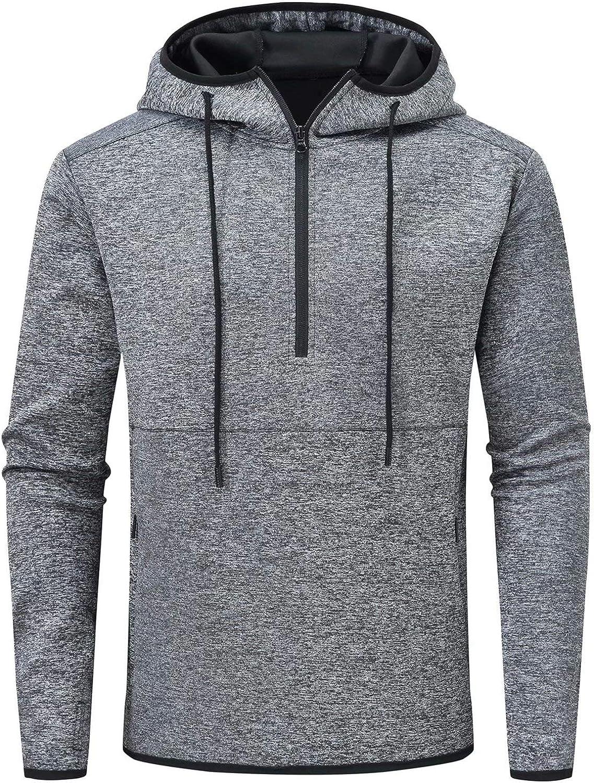 Tyhengta Men's Sports Hoodies Workout 1/4 Zip Athletic Hooded Sweatshirt