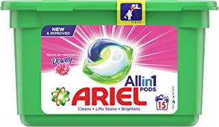 Ariel All in 1 PODS, Washing Liquid Capsules With Touch of Freshness Downy, 15 Count