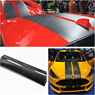 skylightauto 15cm x 350cm Black 5D HIGH Gloss Carbon Fiber Vinyl Stripe Car Hood Roof Decal Sticker