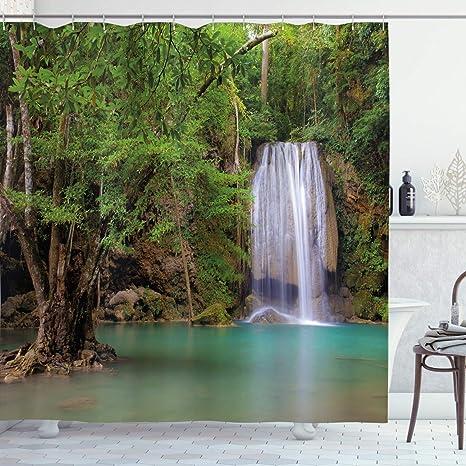 Boho Landscape Scenery Bath Curtain Oak Tree Photo Shower Curtain Modern Photo Shower Curtains Botanical Bathroom Decor