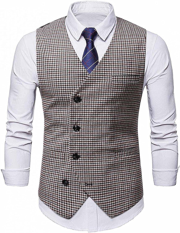 Men's Swallow Gird Button Pocket Sleeveless V-Neck Suit Vest Business Formal Dress Vest Tuxedo Slim Plaid Waistcoat
