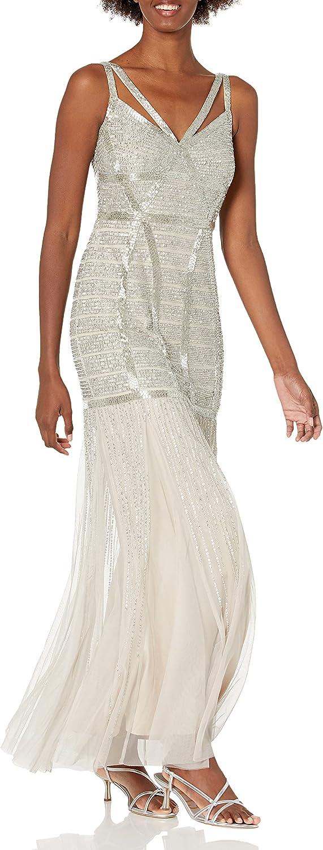 Adrianna Papell Women's Beaded Sleeveless Mermaid Long Dress